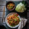 Noodle with sesame peanut dressing #foodphotography