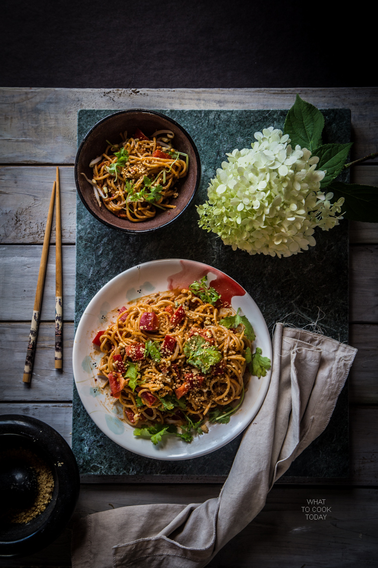 Super easy Noodle with sesame peanut dressing. Creamy. Nutty. Spicy (or not).