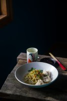 Homemade matcha egg noodles