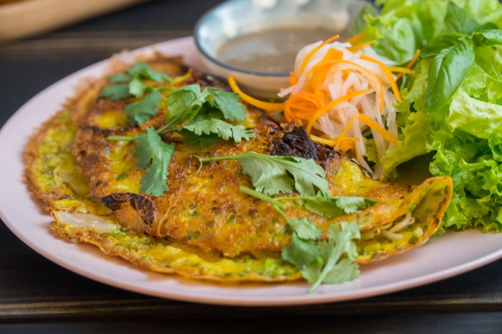 Also known as Vietnamese Pancake. Made with turmeric based rice crepe.