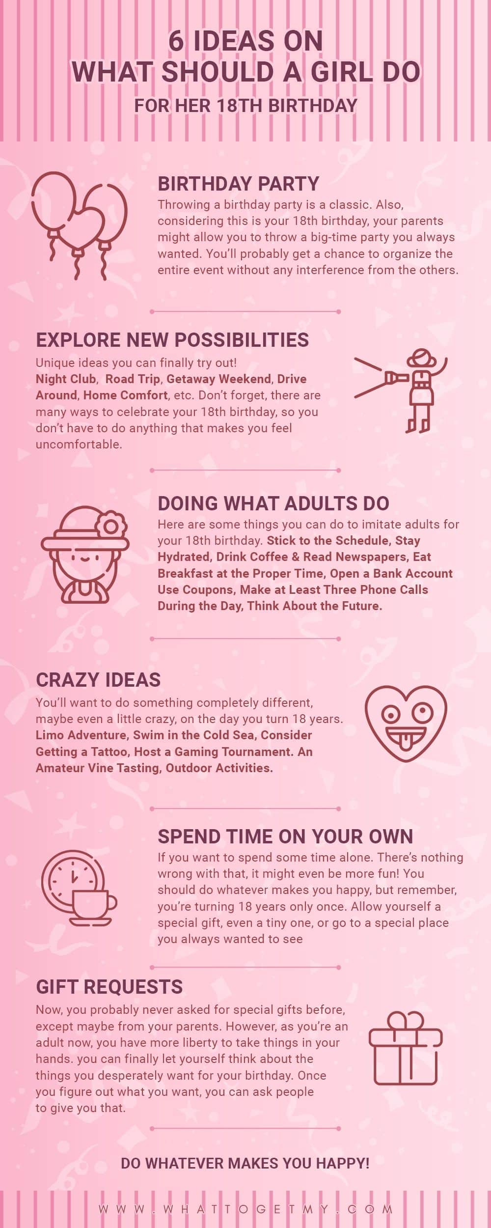 6 Ideas On What Should A Girl Do For Her 18th Birthday What To Get My