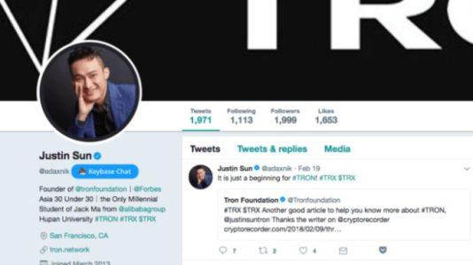 Мошенники верифицировали фейковый аккаунт Twitter Tron Foundation