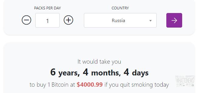 Калькулятор: как скоро вы сможете купить биткоин, если бросите курить?