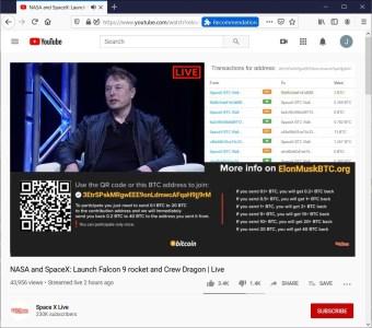 Мошенники на YouTube обманули пользователей на $150 000, создав «аккаунт SpaceX от Илона Маска»