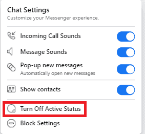 Simple trick to Turn off Facebook chat (Active status) 3