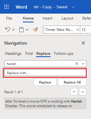 How to use find and replace in a word? 6