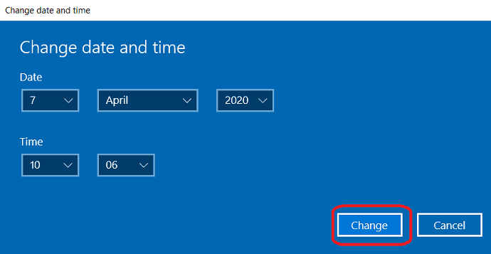 Change date and time window.