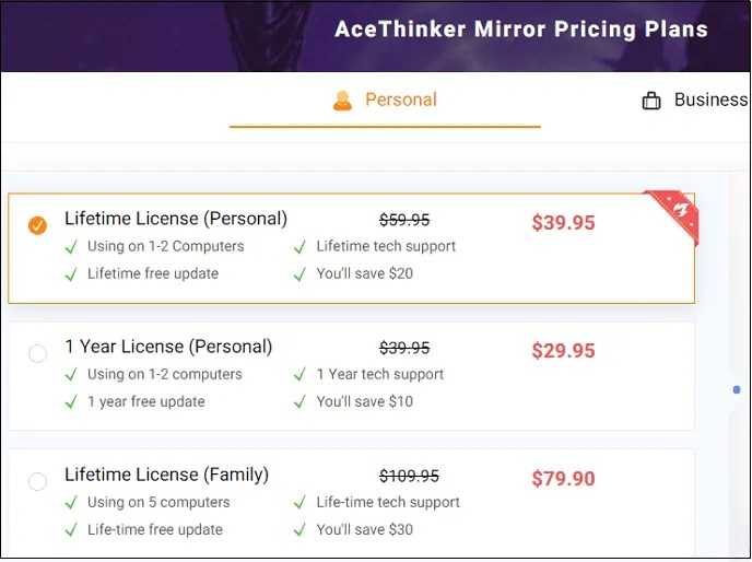 AceThinker-iPhone Screen recorder-Pricing-and-Plans