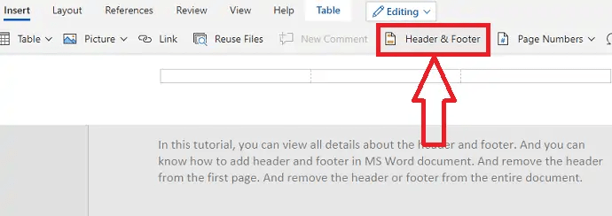 How to Insert or Remove Header and footer in MS Word? 3