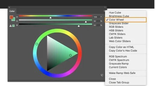Color Wheel option on Adobe Photoshop