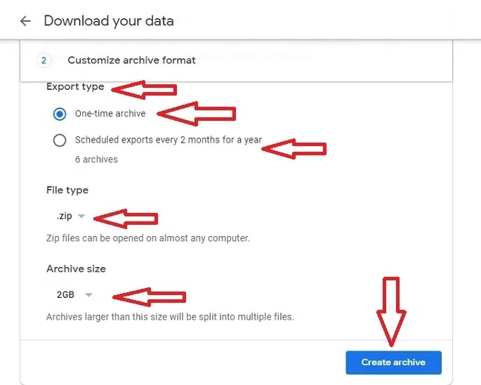 Customizing archive format in takeout.google