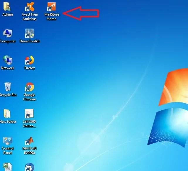 MailStore Home shortcut Icon on desktop