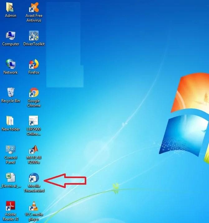 Thunderbird Startup Icon on Desktop