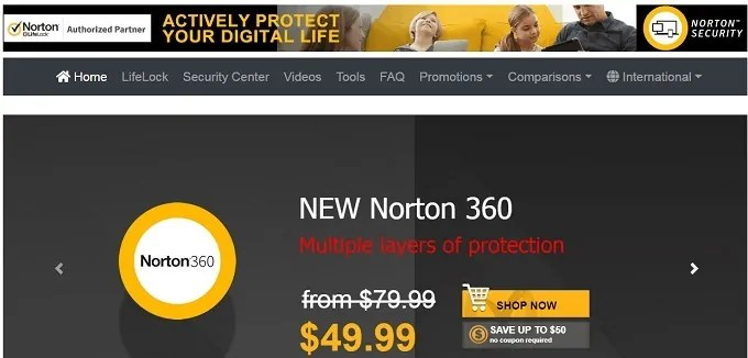 Norton 360 Home Page