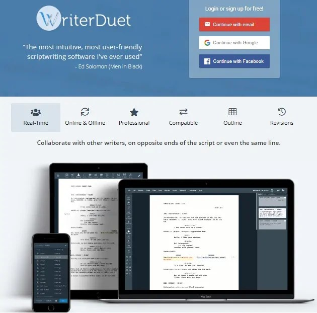 WriterDuet Home Page