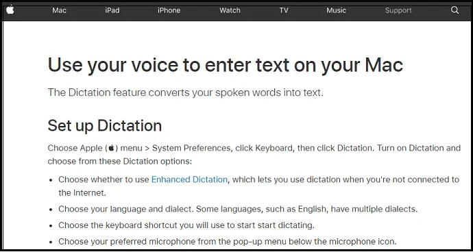 Mac-OS-support-webpage-to-convert-voice-to-text