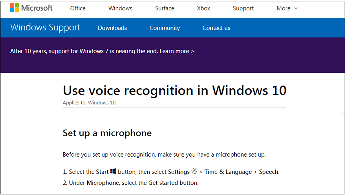 Microsoft-Support-WebPage-To-Set-up-Windows-10-Voice-Recognition