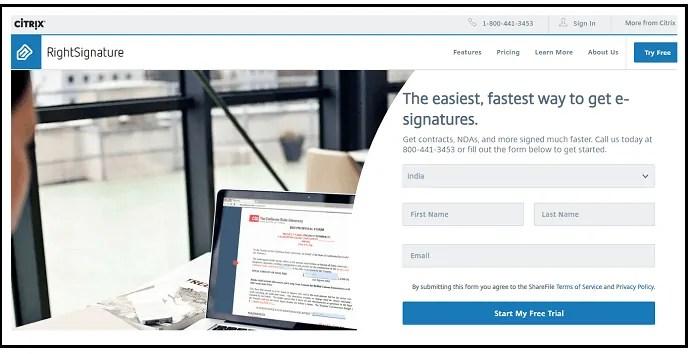 RightSignature-Online Signature-Software-Site-WebPage