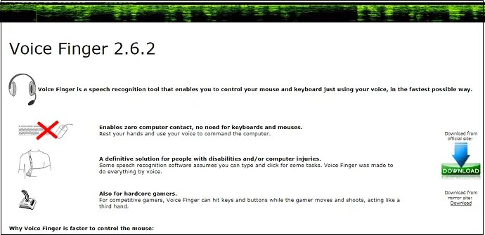 Voice Finger-Desktop-Application-HomePage-used-to-covert-speech-to-text