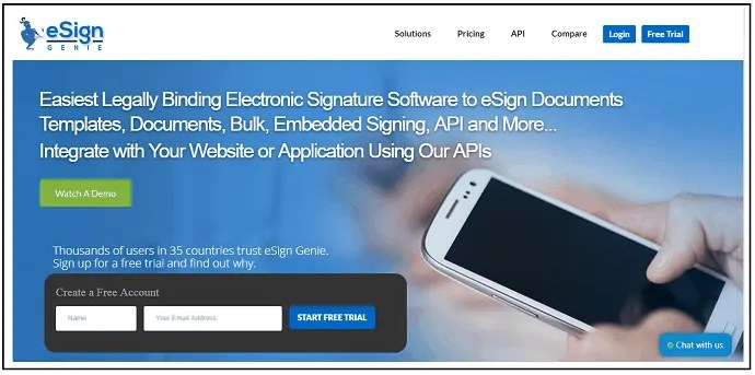 eSign Genie-Online Signature-Software-Site-WebPage