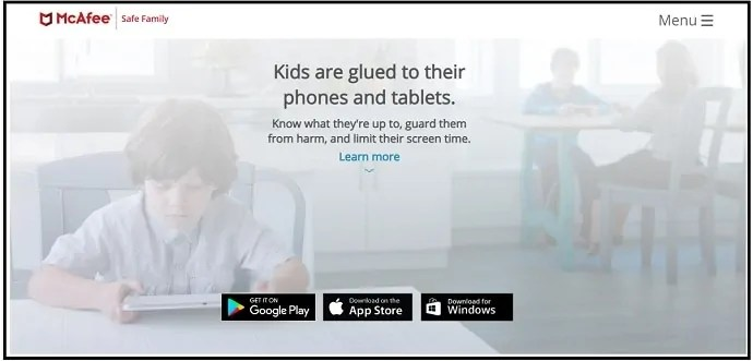 McAfee-Safe-Family-Parental-Control App web-page-for-iPhone-users