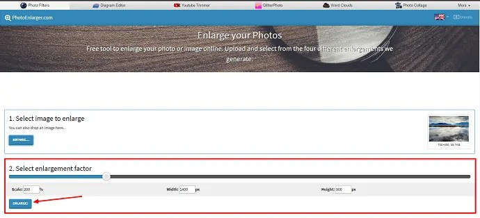Photo enlarger algorithm