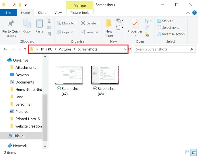 Screenshot location in Windows 10