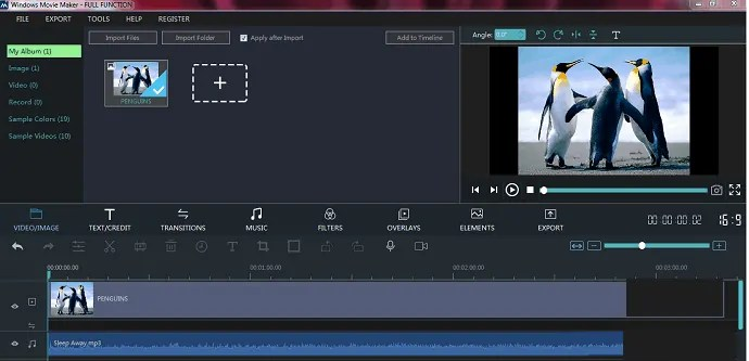 Converting music file to video file using Windows Movie Maker