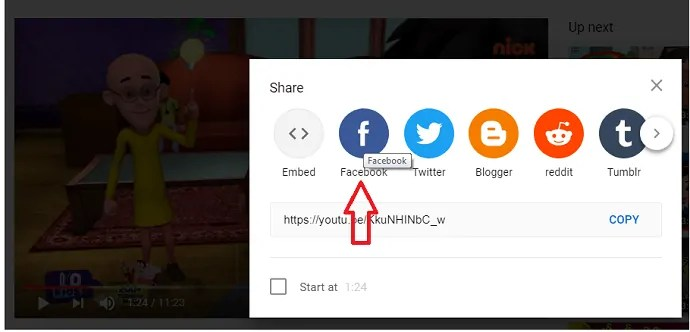 Facebook Share option in YouTube website to share videos