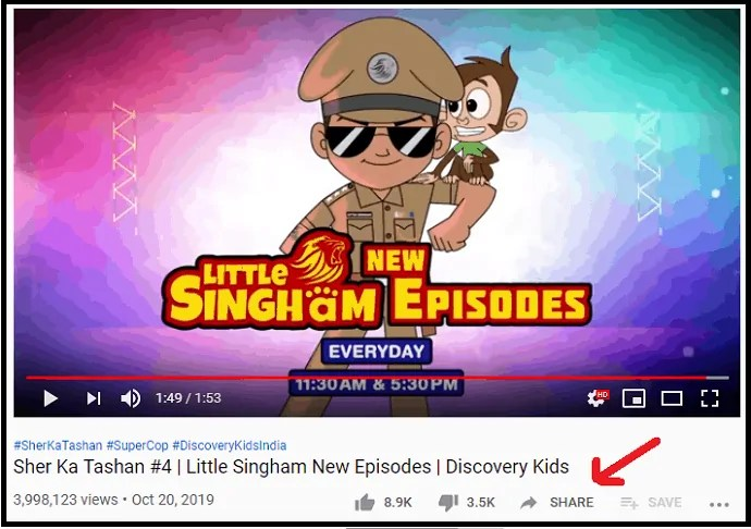 Share Option Icon present just below the YouTube Video Player