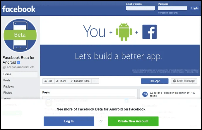 Facebook Android Beta App-webpage