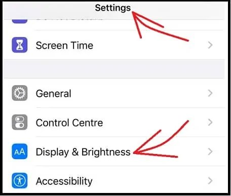 Display & Brightness Option under Settings in Your iPhone device