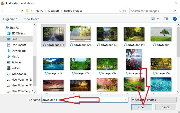 Add photos and videos dialogue box.