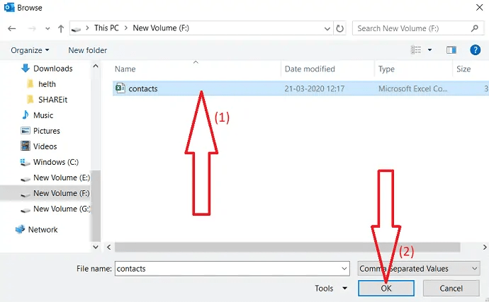 select the file which you want to import.