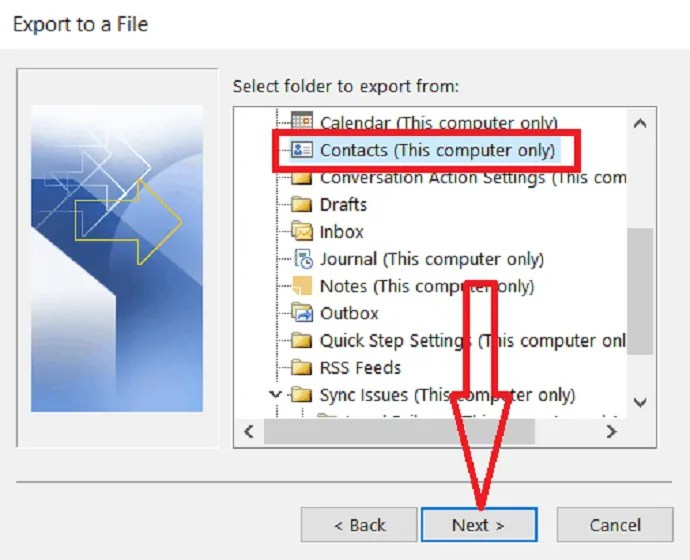 select contacts folder to export.