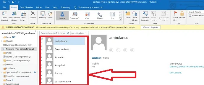 finally all the contacts are imported to outlook.