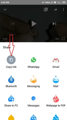 copy link icon along with different share icons.