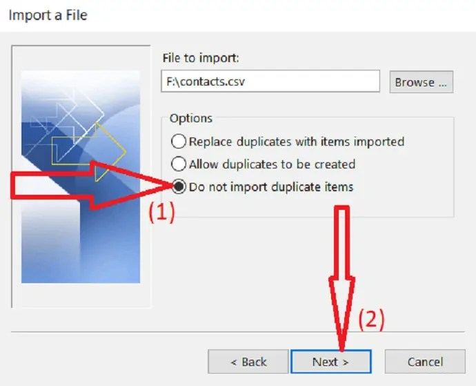 select Do not import duplicate items.