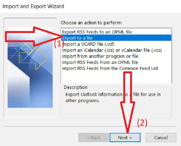 choose an export to a file action.