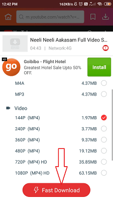 fast download option which is highlighted after selecting the video quality.