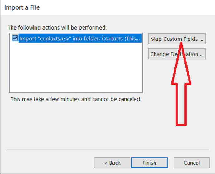 select Map custom fields to add or remove fields.