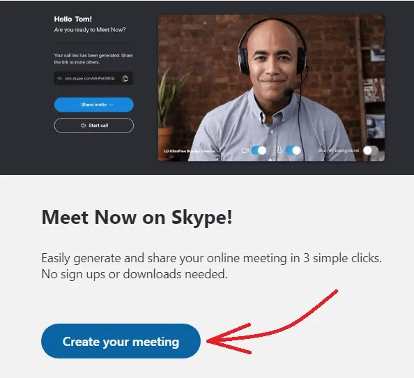 Create your meeting-option-on-Skype-website-to-organize-free-video-meetings-on-chrome-with no sign-ups-and-no downloads