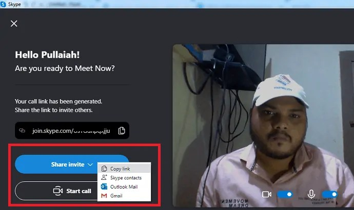 Share invite-option-in-skype-to-invite-anyone-to-join-Skype-Group-Video-Call