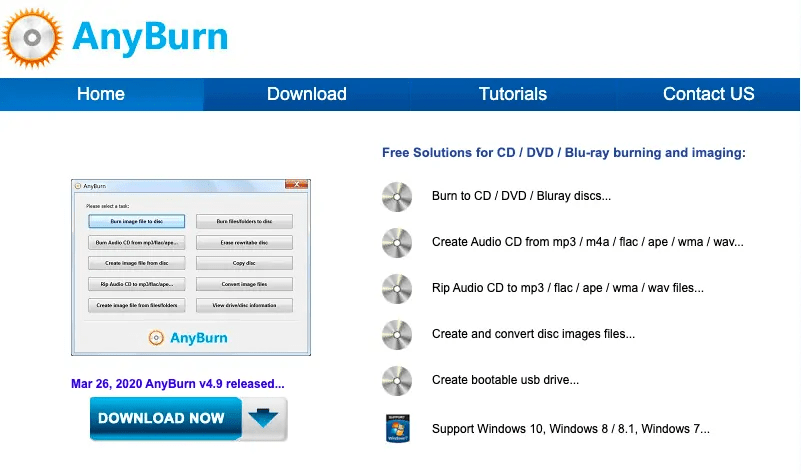 AnyBurn create an audio CD from MP3 Files for free