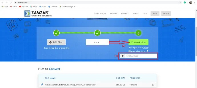 selection of convert Now option