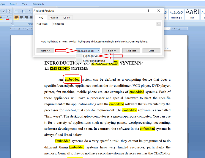 Highlight the word in entire document.