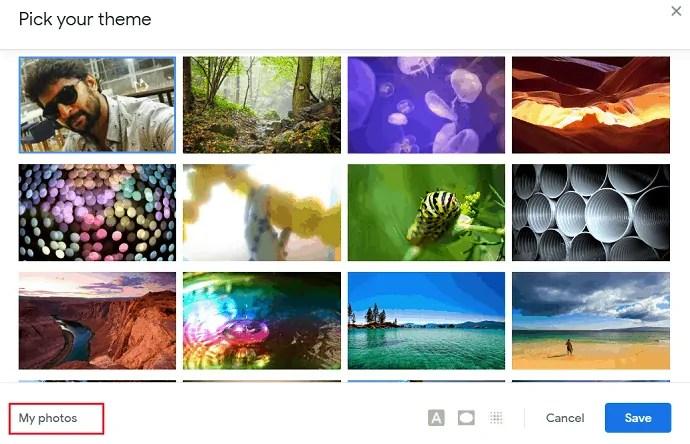 select My photos.