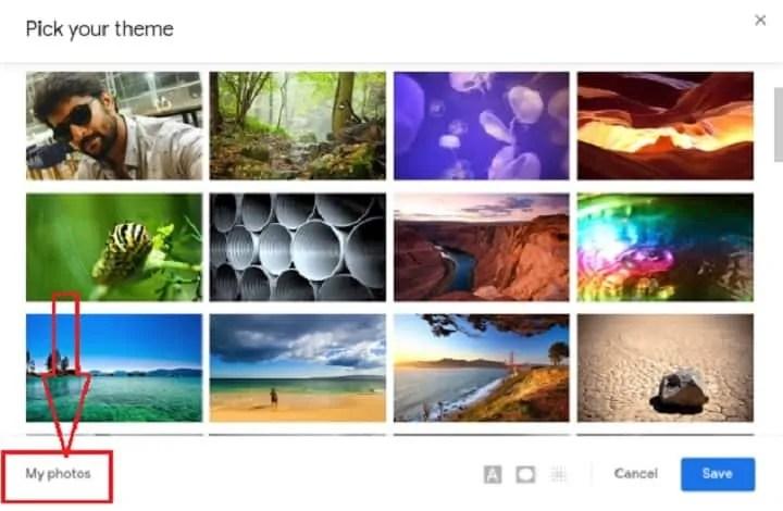 select My photos option.