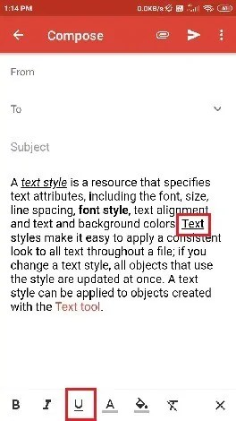 Selection of underline.