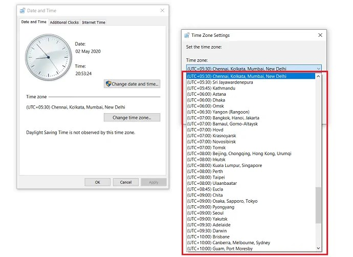 select desired time zone.